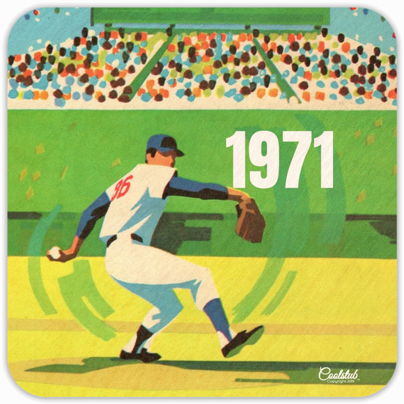 1971 Birth Year Gift Ideas: 1971 Baseball Pitcher Art Drink Coaster Set