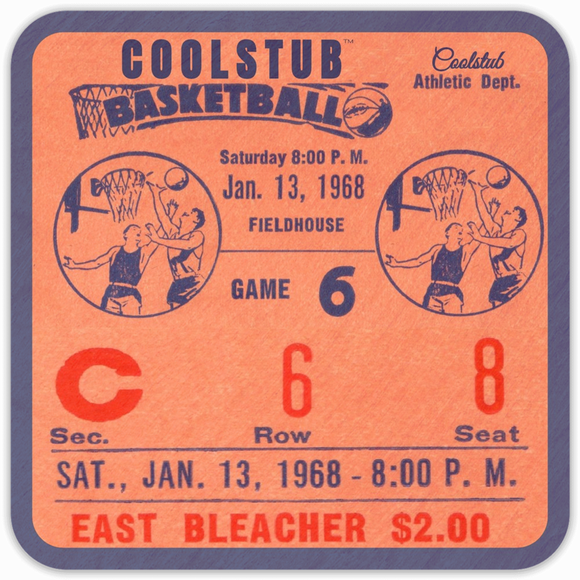 January 13, 1968 Birthday Gift: Coolstub™ 1968 Basketball Ticket Coasters