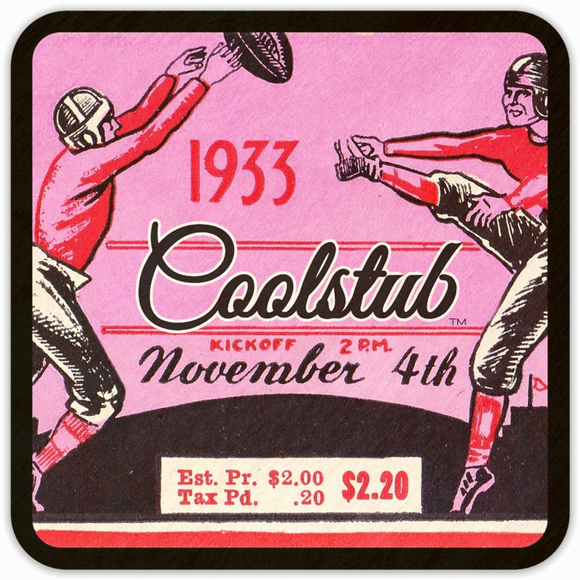 Vintage Football Ticket Drink Coasters: November 4, 1933 Coolstub™ Ticket Coasters