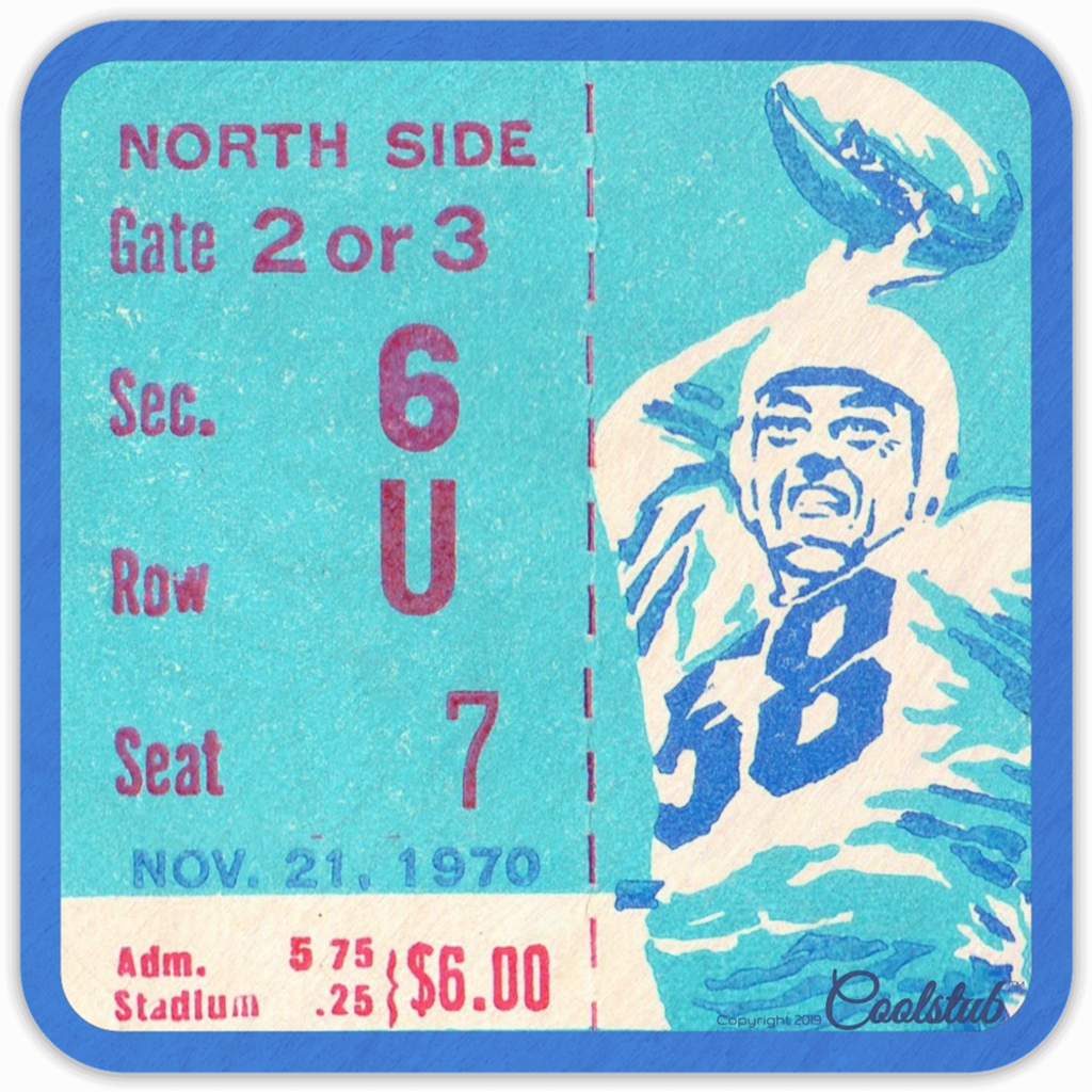 November 21, 1970 Football Ticket Coasters by Coolstub™