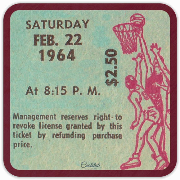 1964 Birthday Gift: February 22, 1964 Basketball Ticket Coasters by Coolstub™