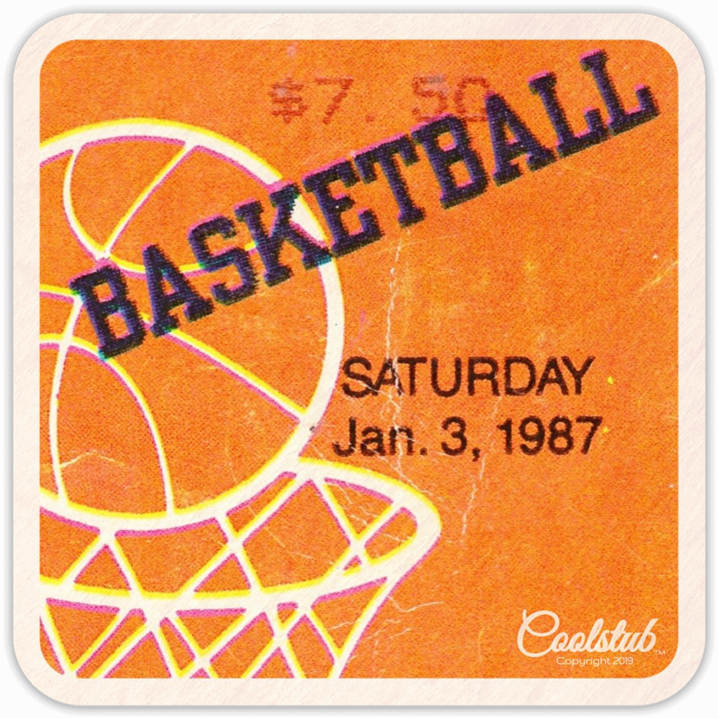 Saturday January 3, 1987 Basketball Ticket Coasters by Coolstub™