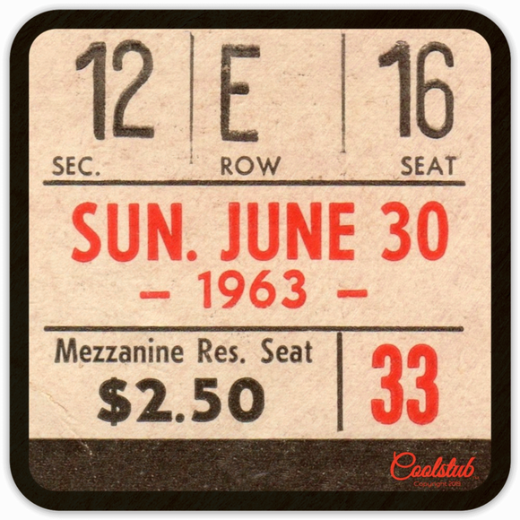 Sunday, June 30, 1963 Baseball Ticket Coasters by Coolstub™