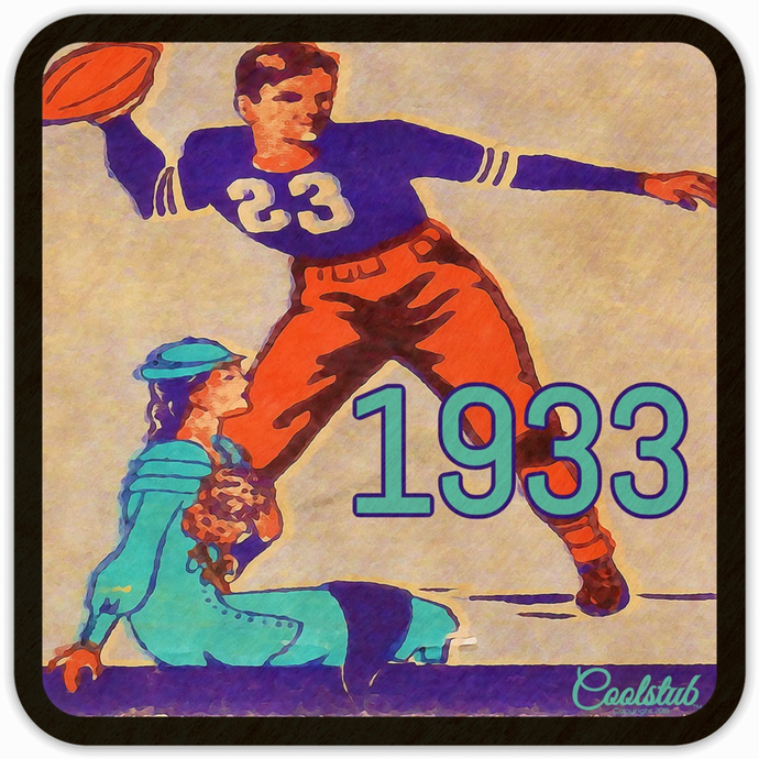 Unique Sports Gifts: 1933 Coolstub™ Football Art Coasters
