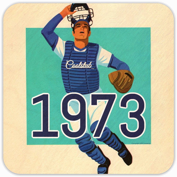 Best Sports Gifts: 1973 Baseball Catcher Art Birch Wood Drink Coasters by Coolstub™