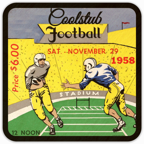 Saturday, November 29, 1958: Coolstub™ Football Ticket Coasters