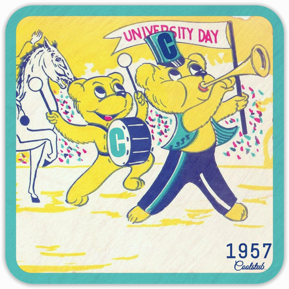 Marching Band Gifts: 1957 Cartoon Bear University Day Coasters by Coolstub™