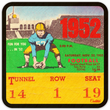 "Load image into Gallery viewer, ""Fun for You in '52"" Vintage Ticket Drink Coasters: 1952 Football Ticket Coasters by Coolstub™ and Row One™ Brand"