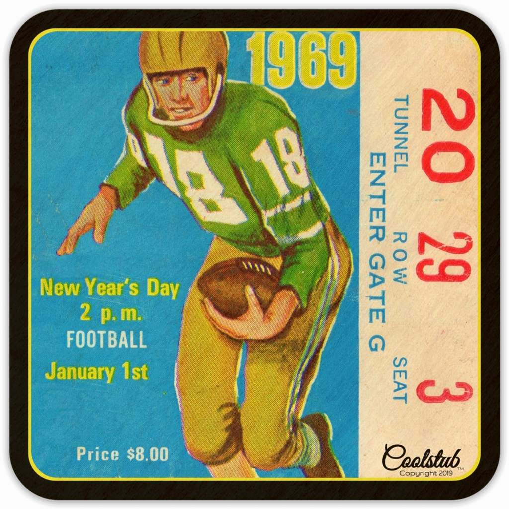 Best 1969 Birth Year Gifts: 1969 Football Ticket Coasters by Coolstub™