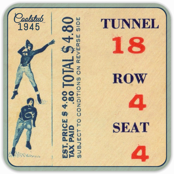 1945 College Football Ticket Coasters by Coolstub™