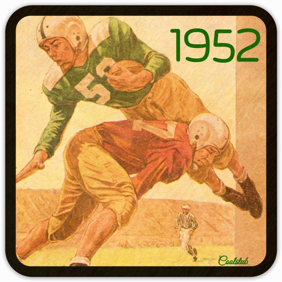 1952 Football: Vintage Touchdown Dive Coasters by Coolstub™
