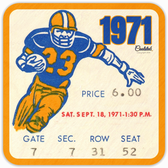 September 18, 1971 Football: Coolstub™ 1971 Football Ticket Stub Coasters