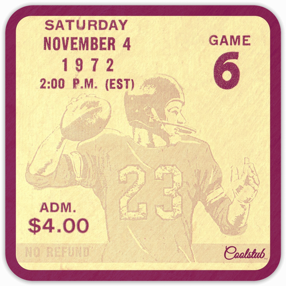 1972 Football Ticket Coasters by Coolstub™