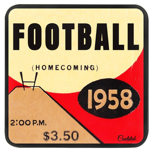 1958 Homecoming Football Masonite Hardboard Coasters by Coolstub™