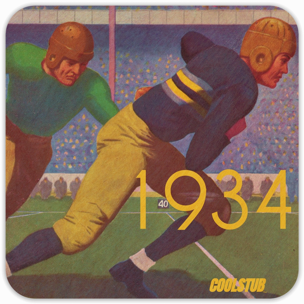 Best Father's Day Gift Ideas 2019: 1934 Football Program Cover Art Coasters by Coolstub™