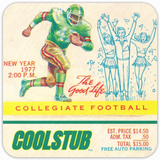Father's Day Sports Gift Ideas: 1977 College Football Ticket Coasters by Coolstub™