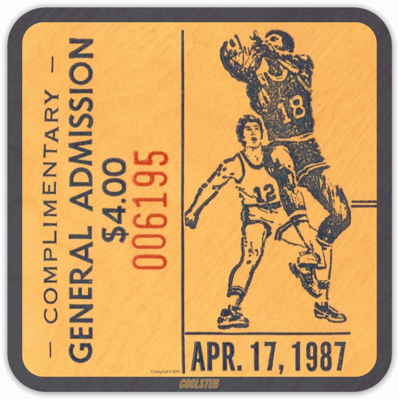 April 17, 1987 Basketball Ticket Coasters by Coolstub™