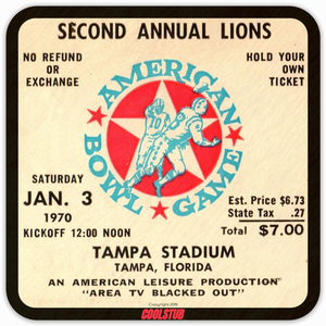 "Tampa, Florida Gift Ideas: 1970 ""American Bowl Game"" Ticket Coasters by Coolstub™"