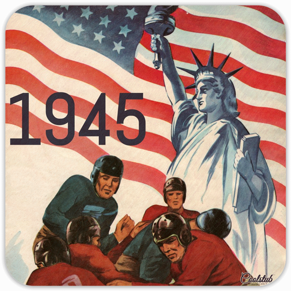 Life, Liberty, and Football: 1945 American Football Patriotic Coasters by Coolstub™