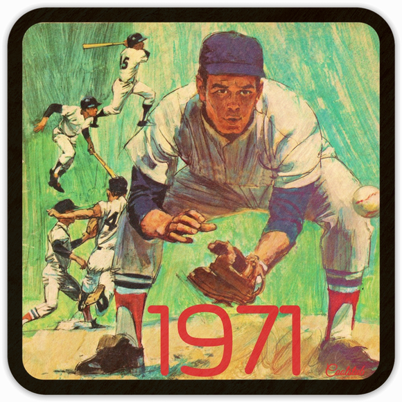 1971 Baseball Father's Day Gift Idea: Coolstub Retro '71 Baseball Program Art Coasters