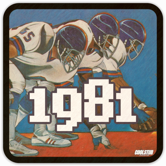 1981 Pop Culture Gift Ideas: Coolstub™ 1981 Football Program Art Coasters