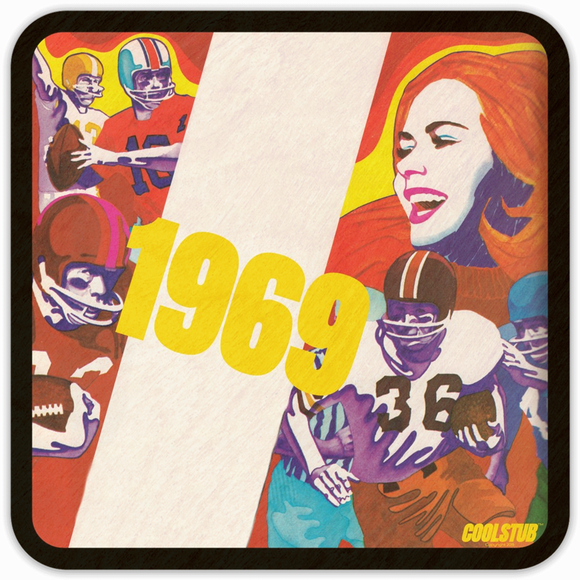 1969 Football Pop Culture Gift: Coolstub™ Retro Football Art Coaster Set (4)