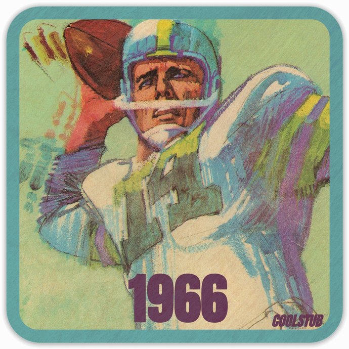 1966 Quarterback Drink Coasters (4) by Coolstub™