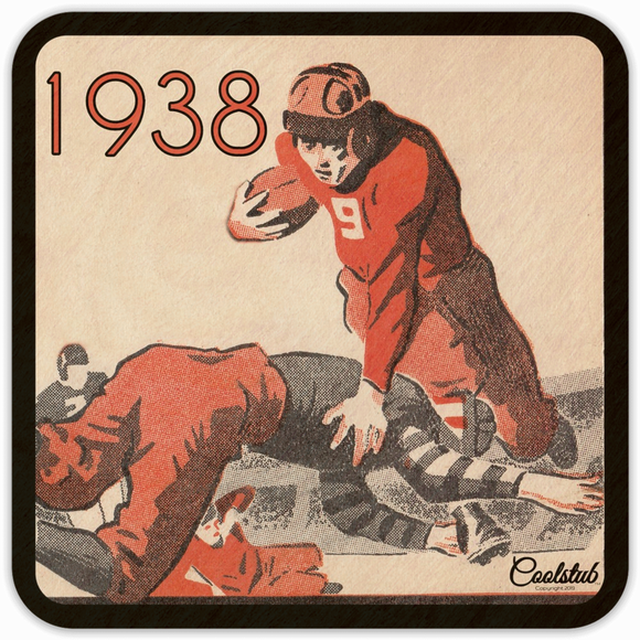 1938 Football Art Drink Coasters by Coolstub™