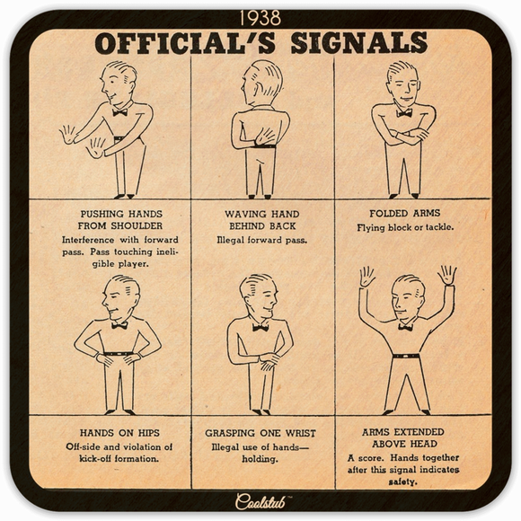 1938 Football Rules Official's Signals Coasters by Coolstub™