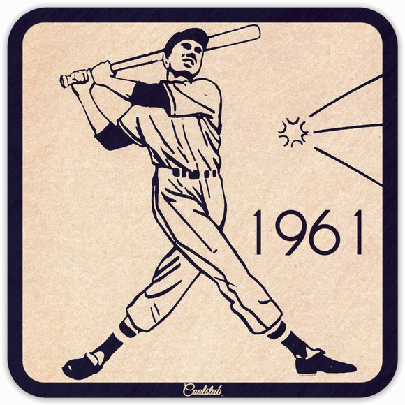 1961 Baseball Batter Drink Coasters by Coolstub™