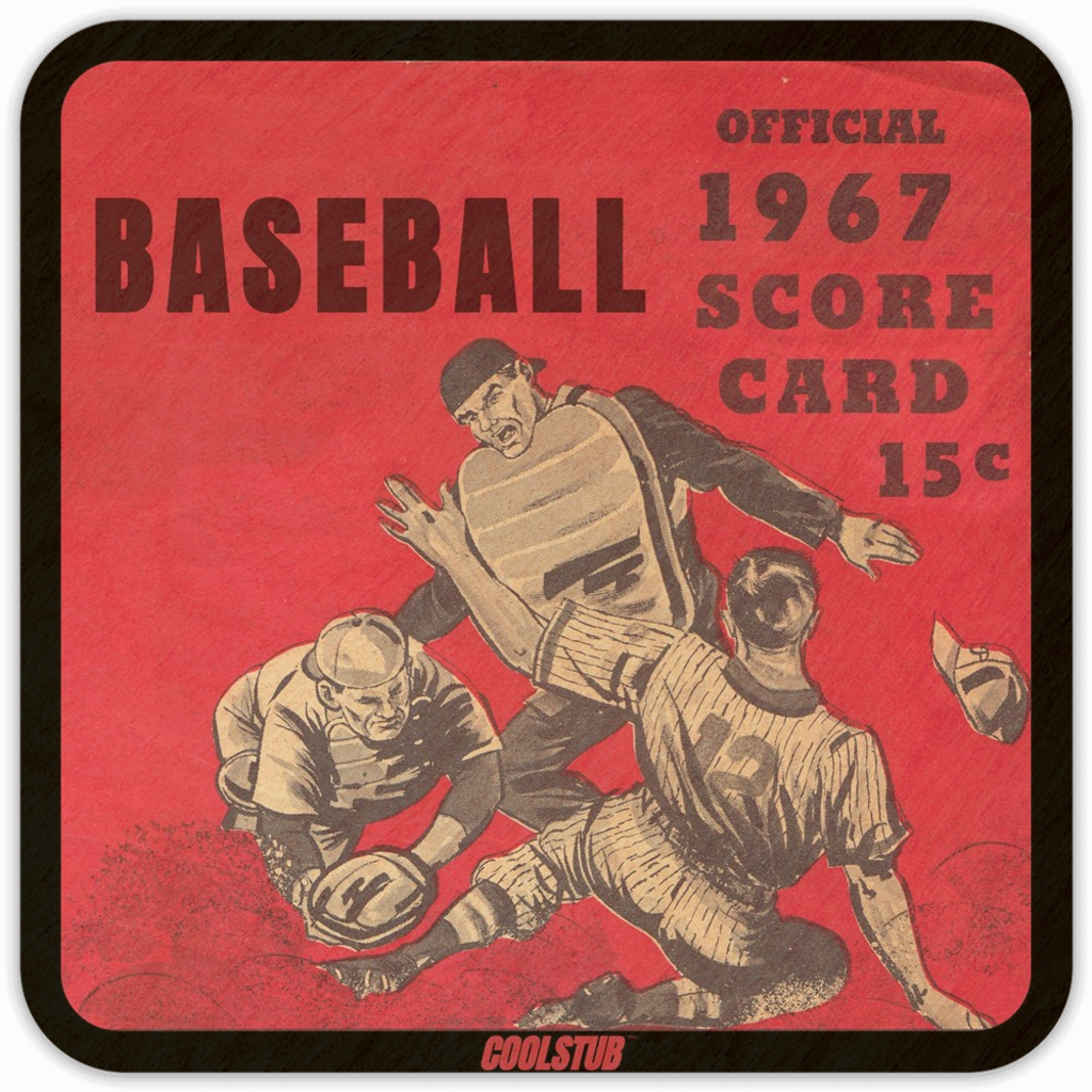 1960's Pop Culture Gift Ideas: 1967 Baseball Score Card Drink Coasters