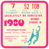 Best Eighties Pop Culture Gifts: 1980 Football Ticket Drink Coasters (4) by Coolstub™
