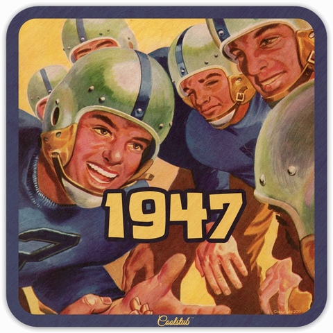 Huddle Up! 1947 Football Program Art Coasters by Coolstub™