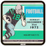 Father's Day Birth Year Gifts: 1972 Football Ticket Coasters by Coolstub™
