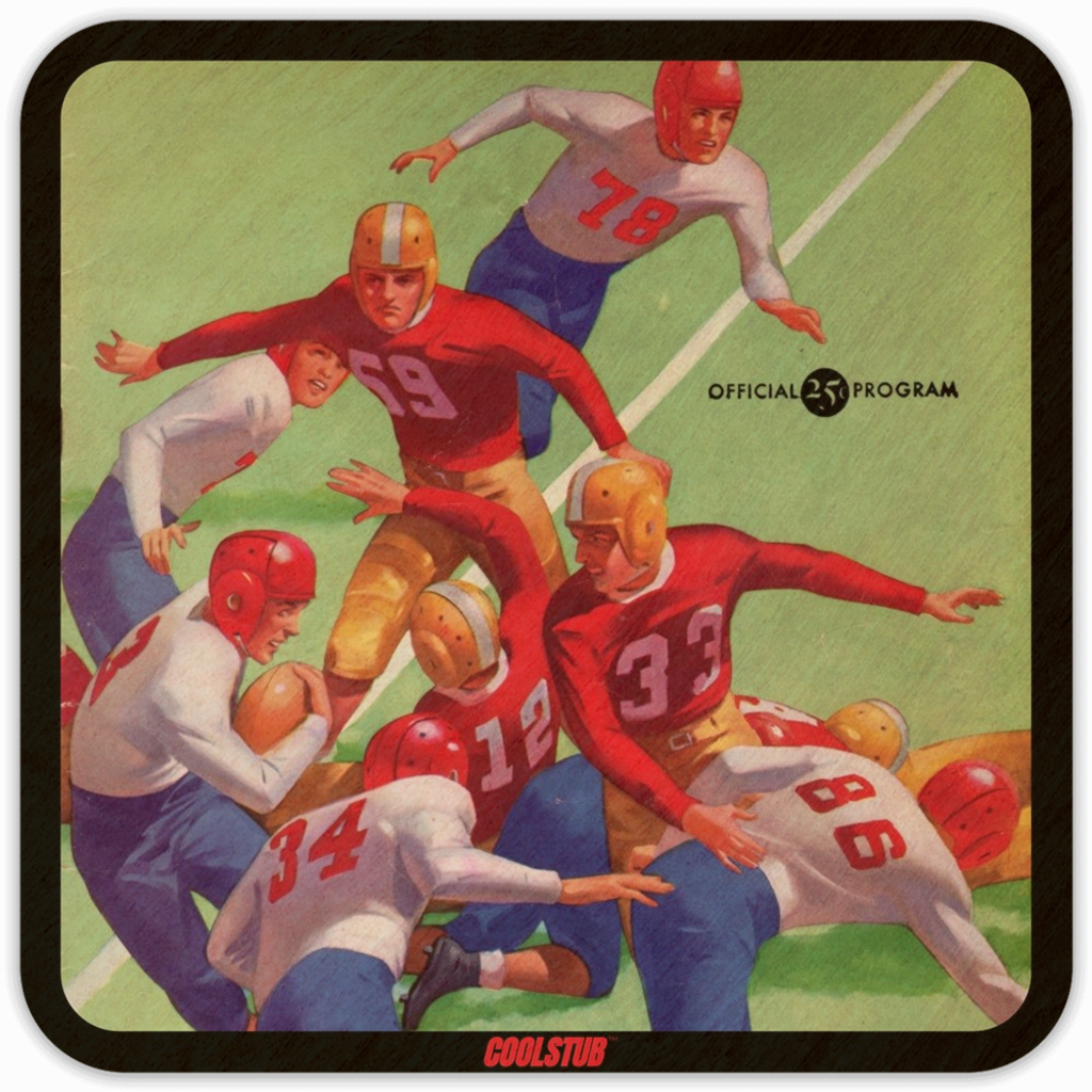 Father's Day Football Gift Ideas: 1945 Vintage Football Program Coasters by Coolstub™