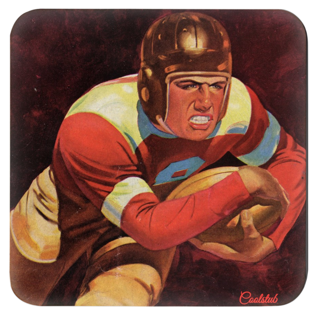 """Determined"" Vintage Football Coasters (1938)"
