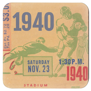 Vintage Football Ticket Stub Coasters (1940)