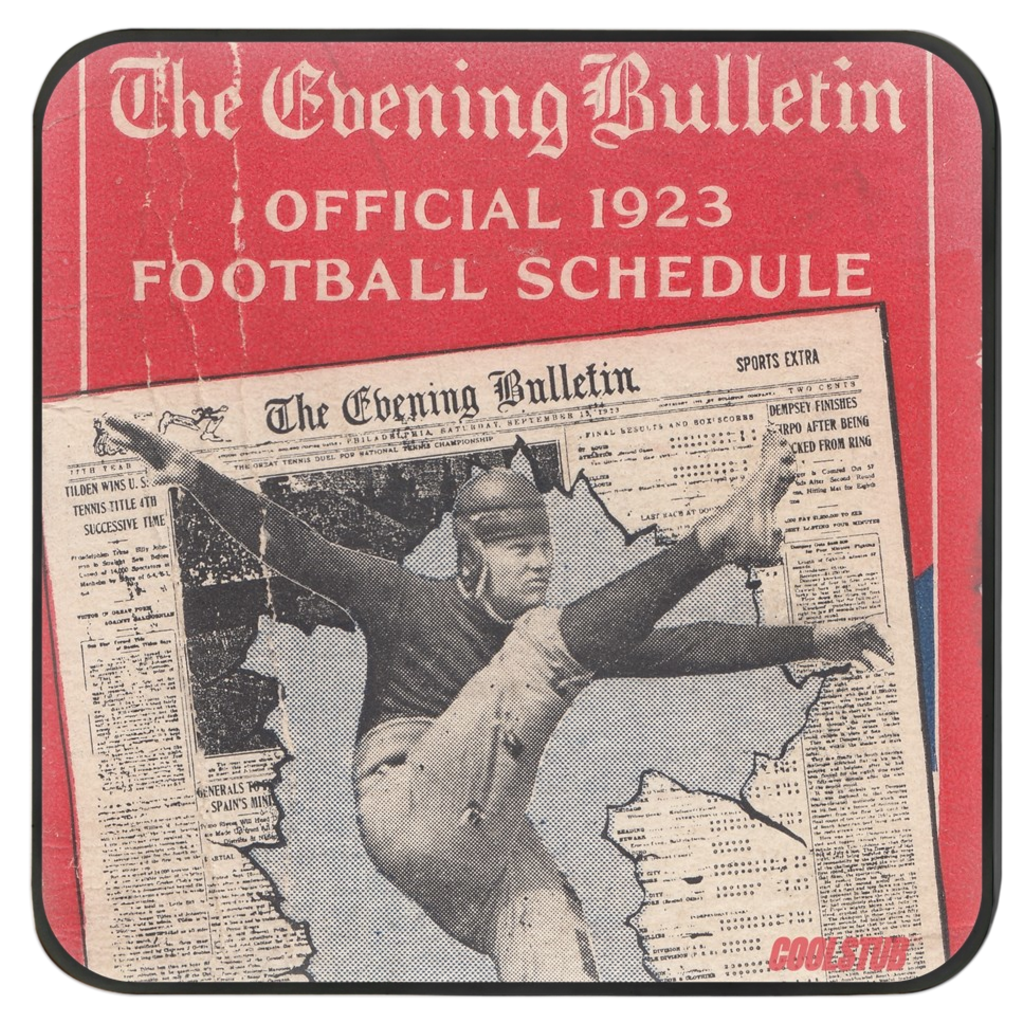 The Evening Bulletin Vintage Football Schedule Coasters (1923)