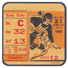 Load image into Gallery viewer, Vintage Football Ticket Coasters (1950)