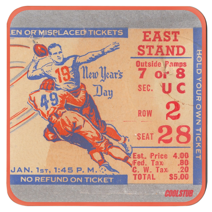 Vintage Football Ticket Stub Coasters (1948)