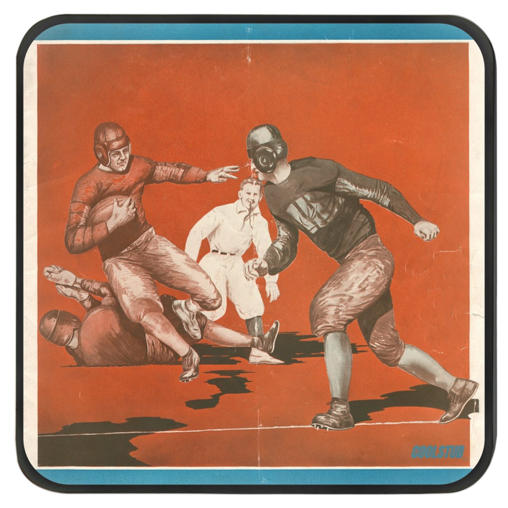 Vintage Football Art Drink Coasters (1929)