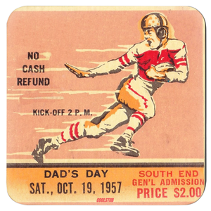 Vintage Football Ticket Drink Coasters (1957)