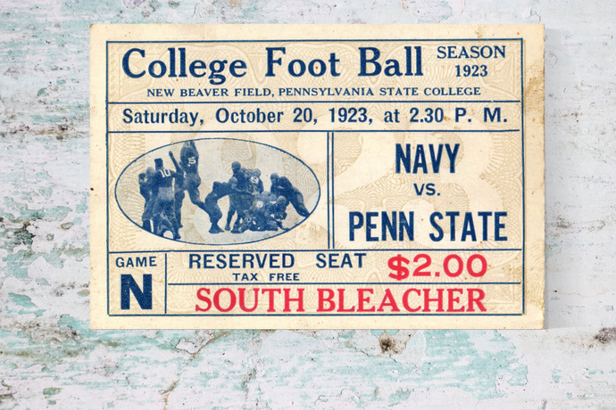 1923 Navy vs. Penn State Vintage Ticket Canvas Art