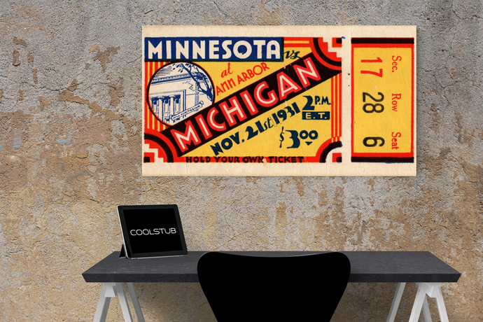 1931 Minnesota vs. Michigan Canvas Ticket