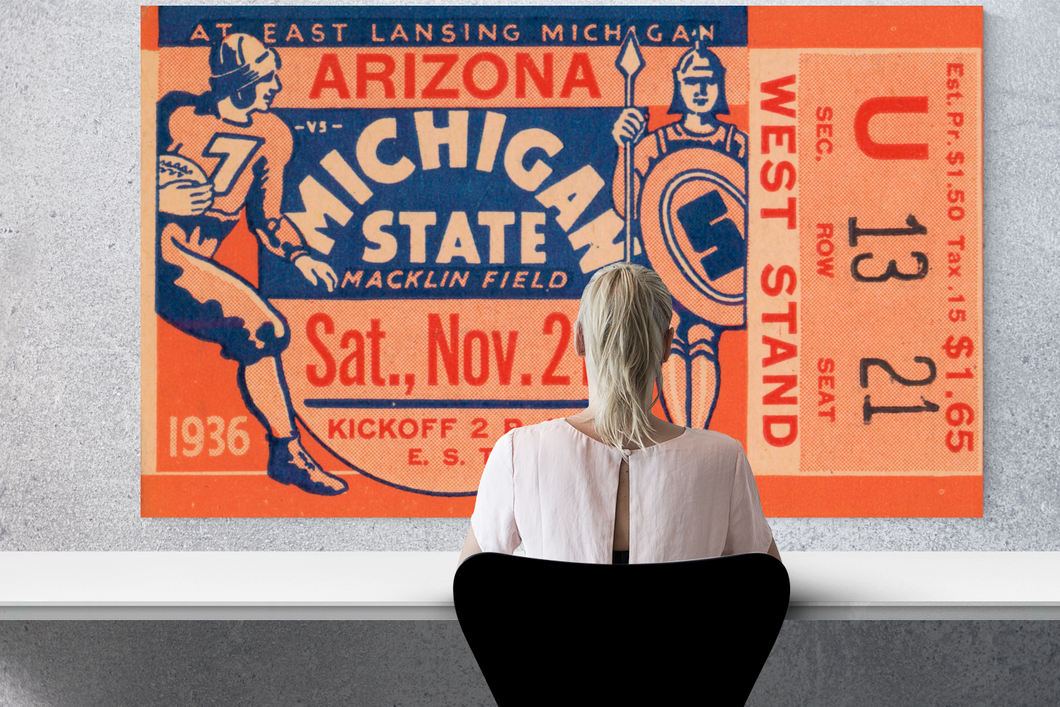 1936 Arizona vs. Michigan State Football Ticket Stub Art
