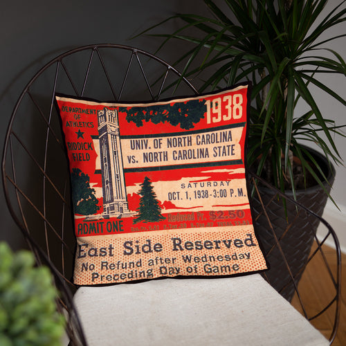 1938 North Carolina State Ticket Pillow