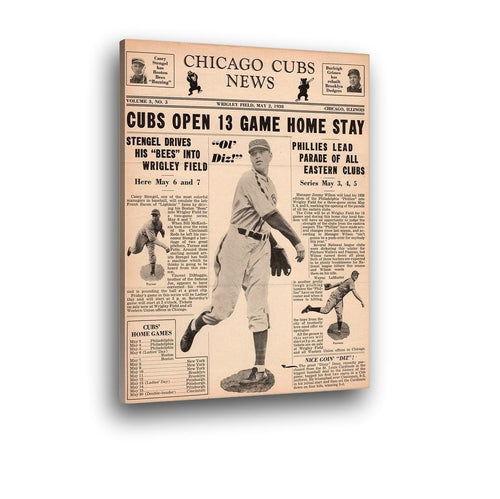 1938 Chicago Cubs News Canvas