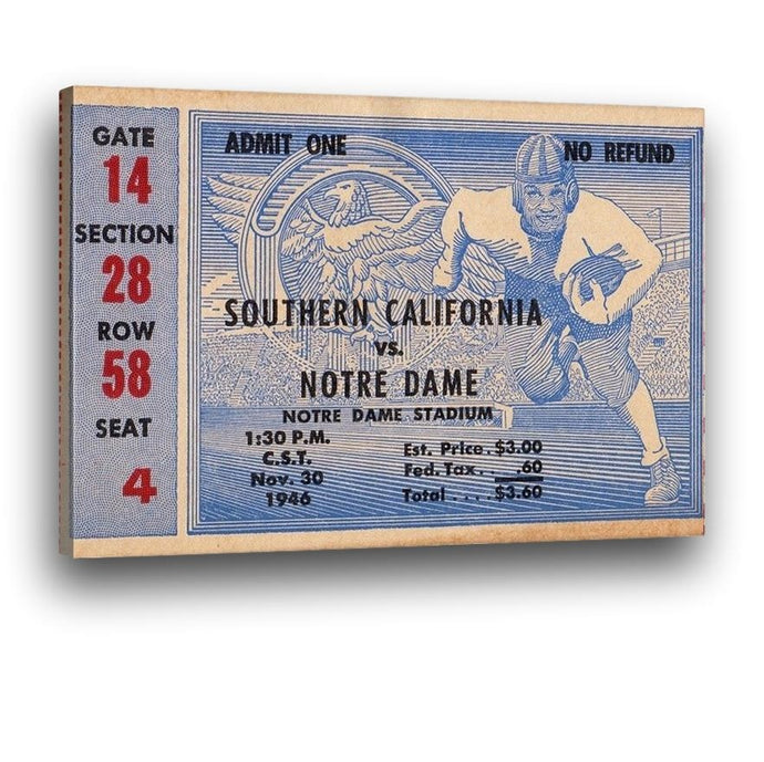 1946 Notre Dame vs. USC Canvas Ticket Stub Art