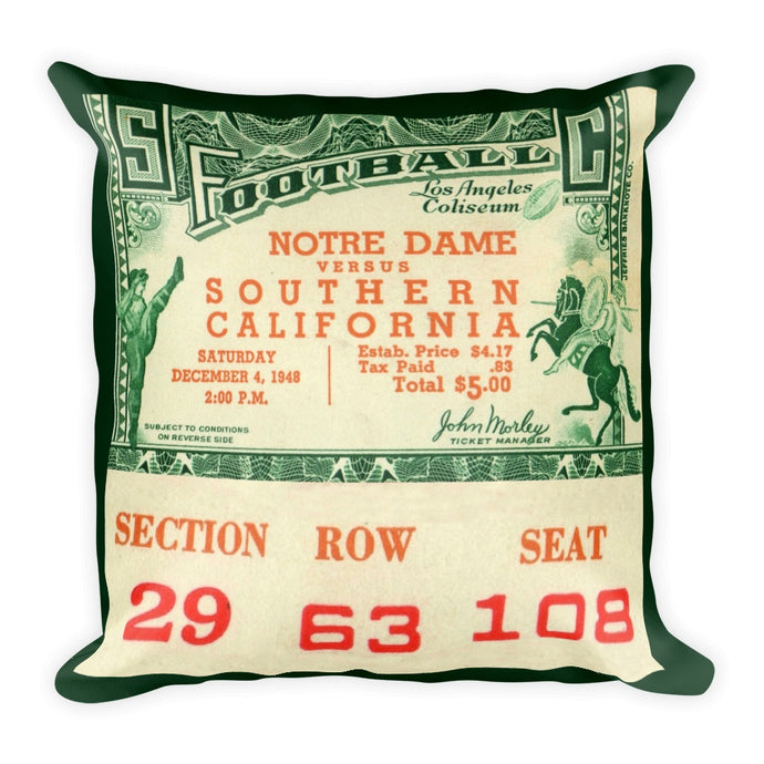 1948 USC vs. Notre Dame vintage ticket stub pillow