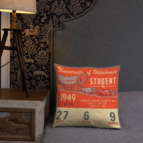 1949 Oklahoma Sooner Ticket Pillow